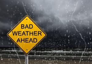 warning sign of bad weather ahead
